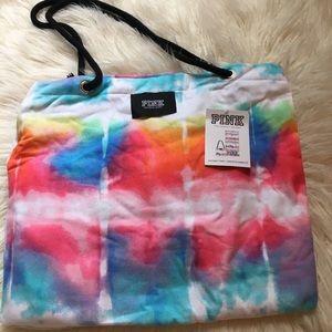 Pink Victoria's Secret tie dye packable towel NWT